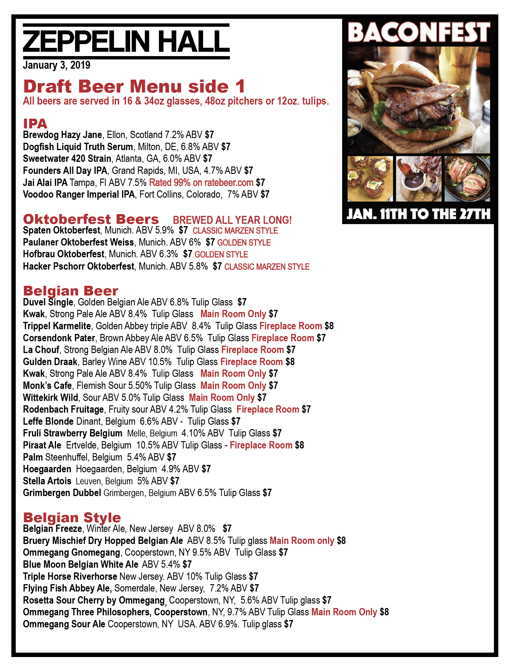 Zeppelin Hall Draft Beer Menu