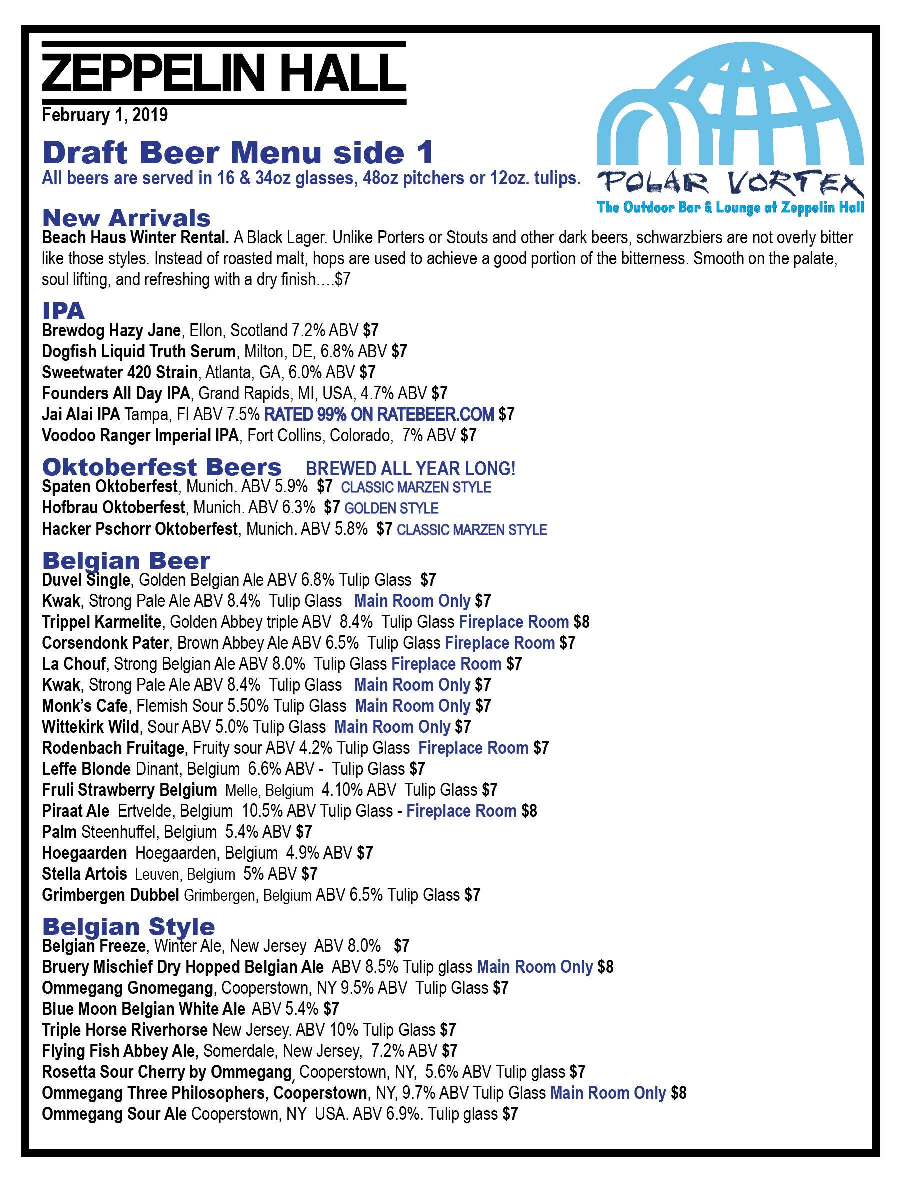 Zeppelin Hall Beer Menu