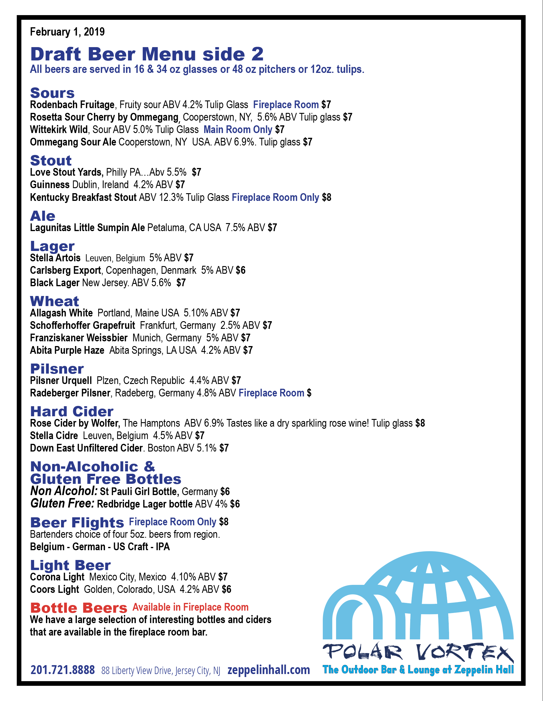 Zeppelin Hall Beer Menu Page 2
