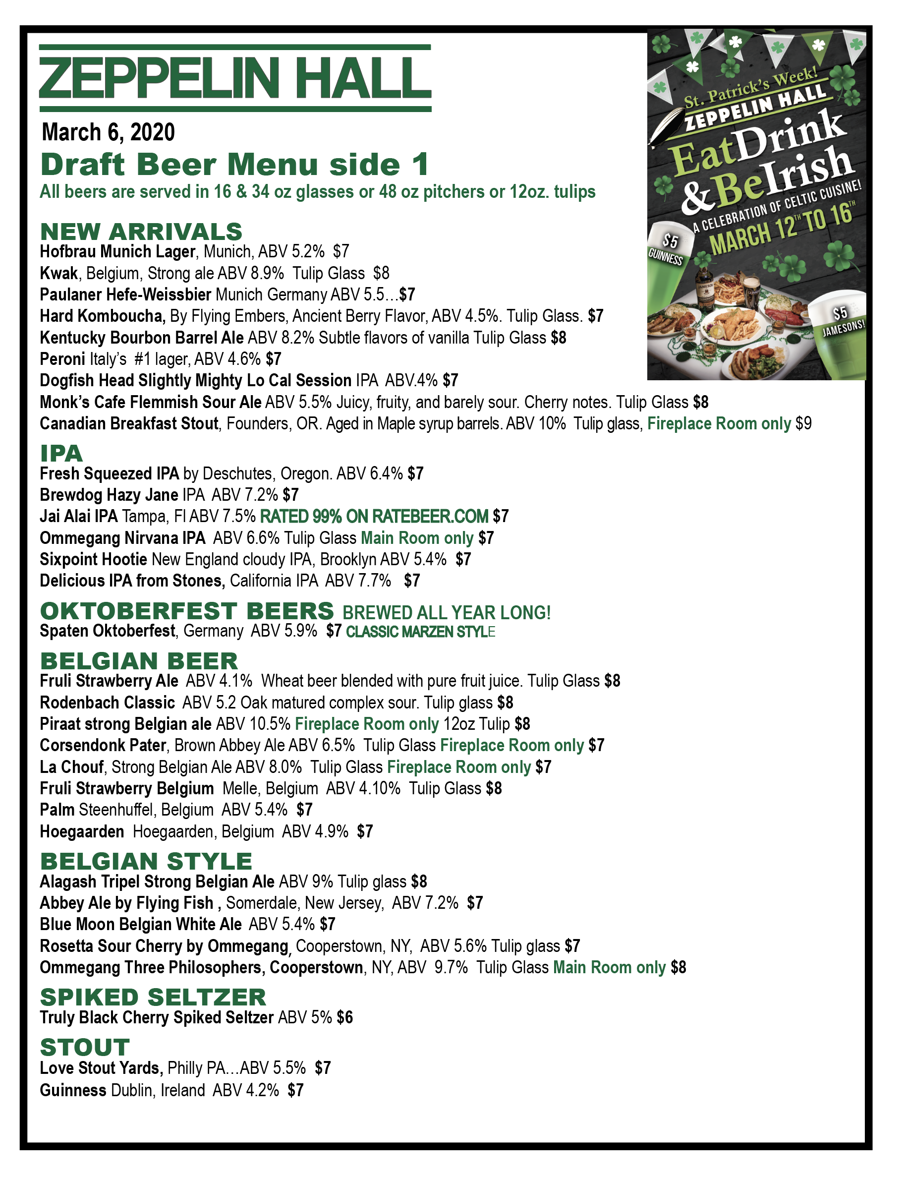 Beer Menu Side 1